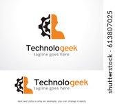 technology geek logo template... | Shutterstock .eps vector #613807025
