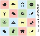 set of 16 editable animal icons.... | Shutterstock .eps vector #613808831