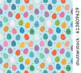 easter eggs seamless pattern.... | Shutterstock .eps vector #613809629