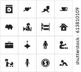set of 16 editable folks icons. ... | Shutterstock .eps vector #613810109