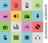 set of 16 editable music icons. ...