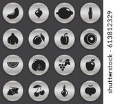set of 16 editable fruits icons.... | Shutterstock .eps vector #613812329