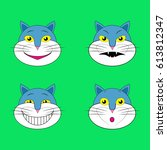 set of emotions cats smileys... | Shutterstock .eps vector #613812347