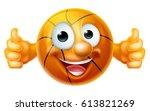 A Happy Cartoon Basketball Bal...