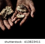 poverty concept. hands with dry ... | Shutterstock . vector #613823411