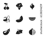 set of 9 editable fruits icons. ... | Shutterstock .eps vector #613824659