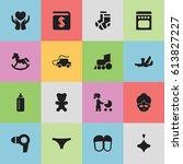 set of 16 editable family icons....