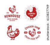 set of retro chicken emblems ... | Shutterstock .eps vector #613827749