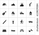 Set Of 16 Editable Travel Icon...