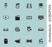 set of 16 editable filming... | Shutterstock .eps vector #613829324