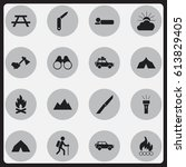 set of 16 editable trip icons.... | Shutterstock .eps vector #613829405
