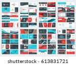 collection of double sided... | Shutterstock .eps vector #613831721