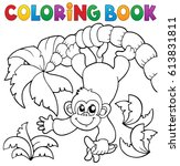 coloring book monkey theme 2  ... | Shutterstock .eps vector #613831811