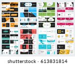 collection of double sided... | Shutterstock .eps vector #613831814