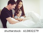 people family and morning...   Shutterstock . vector #613832279