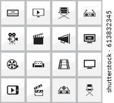 set of 16 editable cinema icons.... | Shutterstock .eps vector #613832345