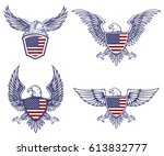 set of the emblems with eagles... | Shutterstock .eps vector #613832777