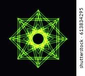 abstract green neon shape ... | Shutterstock .eps vector #613834295