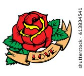 old school tattoo style roses...   Shutterstock .eps vector #613834541