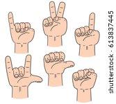 vector set of cartoon hand | Shutterstock .eps vector #613837445