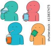 vector set of man drinking | Shutterstock .eps vector #613837475