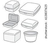 vector set of foam container | Shutterstock .eps vector #613837625