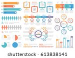 Set of most useful infographic elements - bar graphs, human infographics, pie charts, steps and options, workflow, puzzle, percents, circle diagram, timeline, vector eps10 illustration | Shutterstock vector #613838141