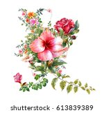 watercolor painting of leaves...   Shutterstock . vector #613839389