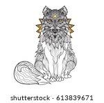 detail zentangle wolf for... | Shutterstock .eps vector #613839671