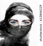 arabic woman portrait.... | Shutterstock . vector #613846229