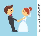 wedding couple in flat style.... | Shutterstock .eps vector #613847735