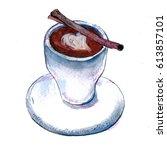 coffee with cinnamon   Shutterstock . vector #613857101