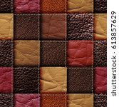 seamless leather patchwork... | Shutterstock . vector #613857629