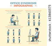linear flat office syndrome... | Shutterstock .eps vector #613860575
