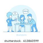 linear flat businesspeople... | Shutterstock .eps vector #613860599