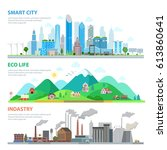 flat smart city  eco life ...   Shutterstock .eps vector #613860641