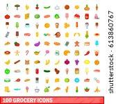 100 grocery icons set. cartoon... | Shutterstock .eps vector #613860767