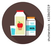 juice and milk icon | Shutterstock .eps vector #613865519