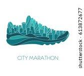 city marathon. poster   running ... | Shutterstock .eps vector #613872677