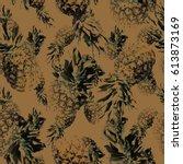 pineapple pattern vintage style ... | Shutterstock . vector #613873169