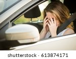 young depressed woman holding... | Shutterstock . vector #613874171