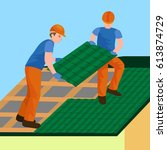 roof construction worker repair ... | Shutterstock .eps vector #613874729