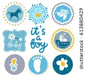 baby icons set. rattle ... | Shutterstock .eps vector #613880429