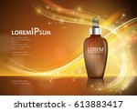 serum essence with dropper on... | Shutterstock .eps vector #613883417