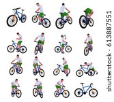 cyclist set 013   Shutterstock .eps vector #613887551