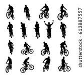 bicycle black set 03 | Shutterstock .eps vector #613887557