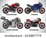 types of motorcycle part 1 | Shutterstock .eps vector #613887779