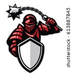 knight with shield and spiky... | Shutterstock .eps vector #613887845
