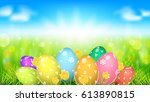 happy easter template. tv size... | Shutterstock .eps vector #613890815