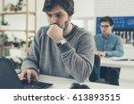 university student studying on... | Shutterstock . vector #613893515